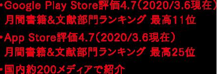 ・Google Play Store評価4.7(2020/3.6現在)月間書籍&文献部門ランキング 最高11位 ・App Store評価4.7(2020/3.6現在)月間書籍&文献部門ランキング 最高25位 ・国内約200メディアで紹介